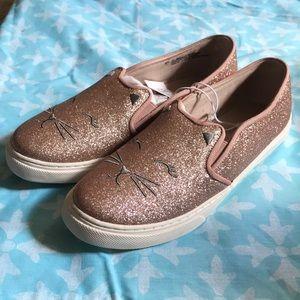 Rose gold kitten slip-on shoes